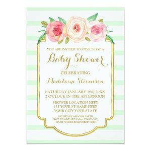 Mint Stripes Pink Watercolor Floral Baby Shower Invitation