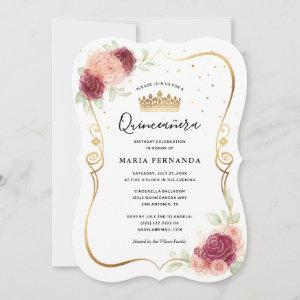 Mis Quince Burgundy Blush Gold Floral Quinceanera Invitation