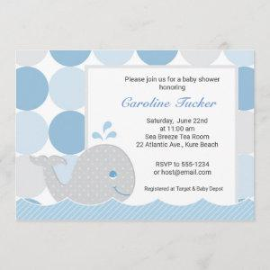 Mod Whale Baby Shower Invitation - Blue & Gray