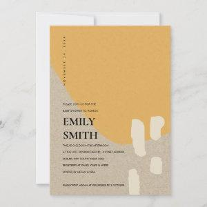 MODERN ABSTRACT KRAFT ORANGE BABY SHOWER INVITE