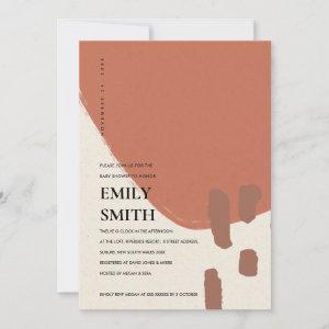 MODERN ABSTRACT KRAFT RUST RED BABY SHOWER INVITE