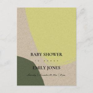 MODERN ABSTRACT LIME GREEN KRAFT BABY SHOWER INVITATION POSTCARD