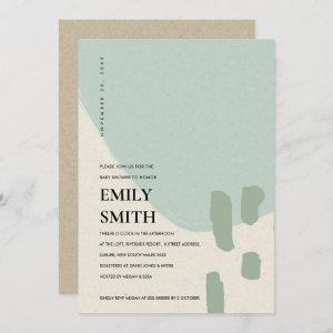 MODERN ABSTRACT SOFT AQUA BLUE BABY SHOWER INVITE