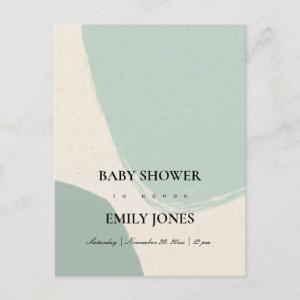 MODERN ABSTRACT SOFT AQUA BLUE KRAFT BABY SHOWER INVITATION POSTCARD