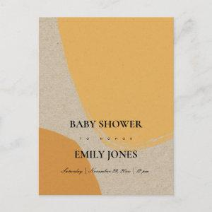 MODERN ABSTRACT SOFT ORANGE RUST KRAFT BABY SHOWER INVITATION POSTCARD