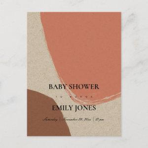 MODERN ABSTRACT TERRACOTTA RED KRAFT BABY SHOWER INVITATION POSTCARD