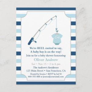 Modern and Cute Fishing Themed Baby Shower Invitation