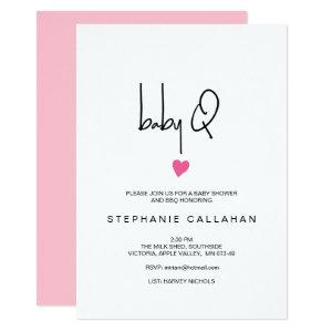 Modern baby BBQ shower, pink heart for a girl Invitation