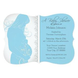 Modern Belly Silhouette Lace Baby Shower Invites
