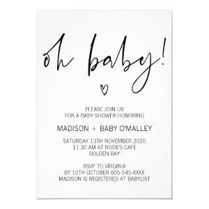 Modern Black and White Oh Baby Shower Invitation
