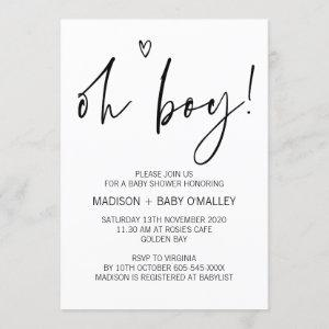 Modern Black and White Oh Boy Baby Shower Invites