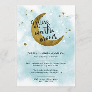 Modern Blue Calligraphy Over The Moon Baby Shower Invitation