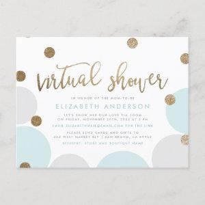 Modern Blue & Gold Glitter Confetti Virtual Shower Invitation Postcard