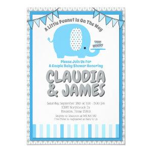 Modern Blue Grey Baby Elephant Couple Baby Shower Invitation