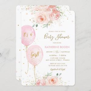 Modern Blush Pink Floral Balloons Gold Baby Shower Invitation