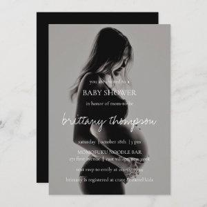 Modern Calligraphy Black White Photo Baby Shower Invitation