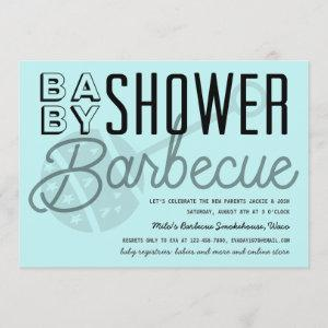 Modern Couples Baby Shower Barbecue Light Blue Invitation