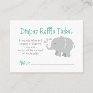 Modern Elephant Baby Shower Mint Green and Gray Enclosure Card