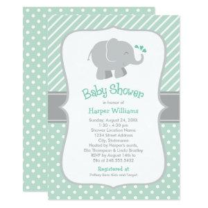 Modern Elephant Baby Shower Mint Green and Gray Invitation