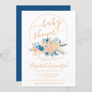 Modern floral coral watercolor blue baby shower