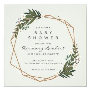 Modern Geometric Gold Frame Greenery Baby Shower Invitation