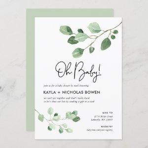Modern Greenery Baby Shower by Mail Invitation