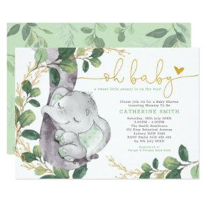 Modern Greenery Elephant Green Gold Baby Shower Invitation