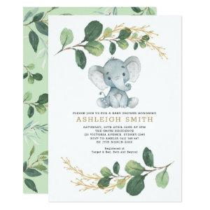 Modern Greenery Elephant Jungle Baby Shower Invitation