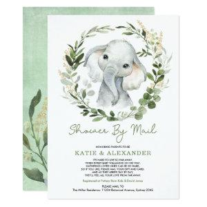 Modern Greenery Gold Elephant Baby Shower By Mail Invitation