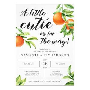 Modern little cutie is on the way orange baby girl invitation