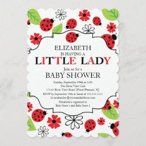 Modern Little Lady Red Ladybug Baby Shower Invitation