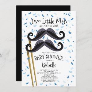Modern  Little Men Mustache Twins Baby Shower Invitation