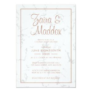 Modern Marble Rose Gold Girl Couples Baby Shower Invitation