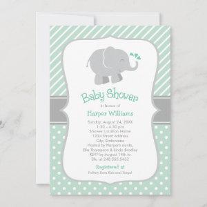 Modern Mint and Gray Elephant Baby Shower Invitation