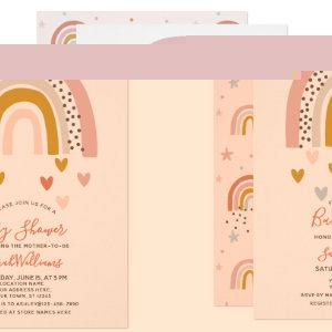 Modern Muted Rainbow Baby Shower Sprinkle Hearts Invitation