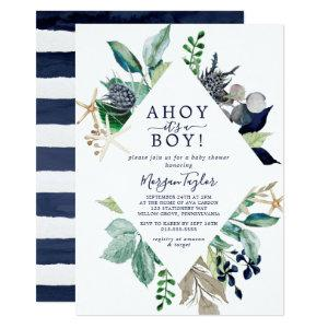 Modern Nautical Ahoy It's A Boy Baby Shower Invitation