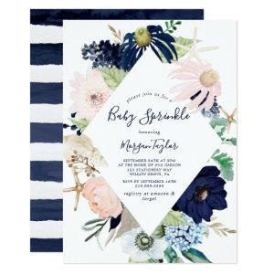 Modern Nautical | Floral Baby Sprinkle Invitation