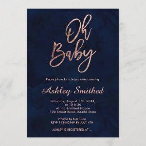 Modern navy blue watercolor chic Oh baby shower