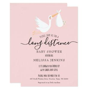 Modern Pink Baby Girl Long Distance Shower By Mail Invitation