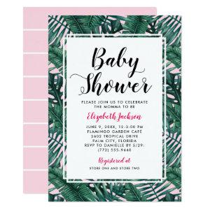 Modern Pink Tropical Palm Leaves Baby Girl Shower Invitation