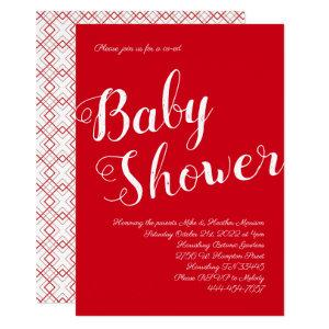 Modern Red Baby Shower Co-Ed Gender Neutral Invitation