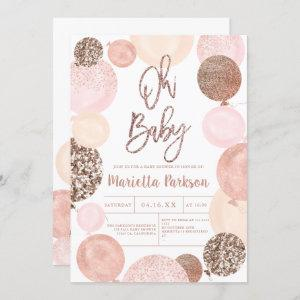 Modern rose gold glitter pink balloons baby shower invitation