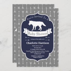 Modern Rustic Gray & White Wolf Arrows Baby Shower Invitation