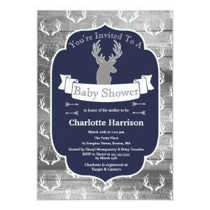 Modern Rustic Navy Deer & Gray Wood Baby Shower Invitation