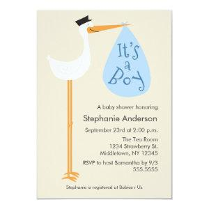 Modern Stork Baby Shower Invitation - Boy