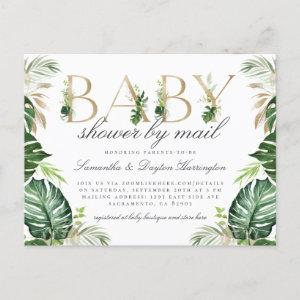 Modern Tropical Greenery Gold Baby Shower By Mail Invitation Postcard