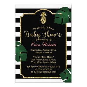 Modern Tropical Pineapple Hawaiian Baby Shower Invitation