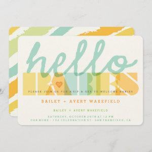 Modern Typography Hello Babies Twins Sip & See Invitation
