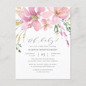 Modern Watercolor Floral Oh Baby Baby Girl Shower Invitation Postcard