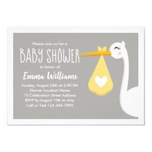 Modern Yellow Gray Stork Bird  | Cute Baby Shower Invitation